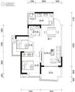 湘港2室2厅1卫84平方米户型图