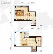 众美定制广场1室2厅2卫65平方米户型图