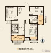 华天公馆2室2厅1卫89平方米户型图