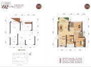 金宸悦�B3室2厅2卫83平方米户型图