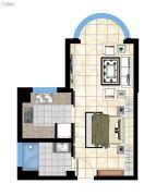 香庭海岸1室1厅1卫48平方米户型图