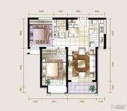 华业东方玫瑰2室2厅1卫90平方米户型图