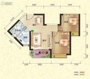恒大御景半岛2室2厅1卫80平方米户型图