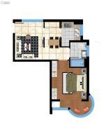 香庭海岸1室2厅1卫63平方米户型图