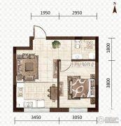 益和国际城1室1厅1卫44平方米户型图