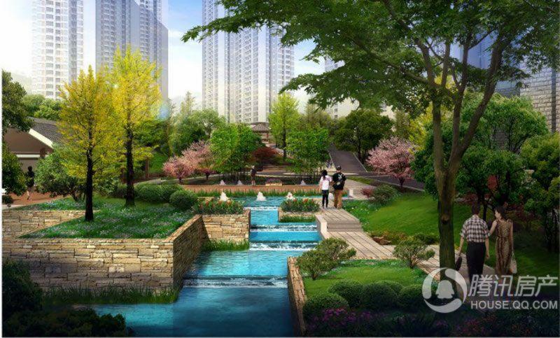 渝开发上城时代社区水景效果图