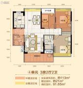 珑城半山3室2厅2卫113平方米户型图