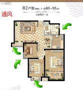 煌庭棕榈湾3室2厅1卫85--95平方米户型图
