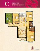 溪城华府3室2厅2卫133平方米户型图