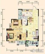 翰林世家3室2厅1卫102平方米户型图