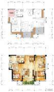 绿地城3室2厅1卫82平方米户型图