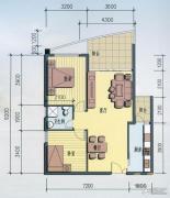 海岸国际假日花园2室2厅1卫89平方米户型图