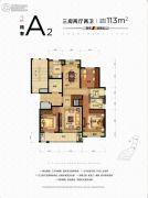 朗诗熙华府3室2厅2卫113平方米户型图