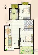 清华忆江南2室2厅1卫100平方米户型图