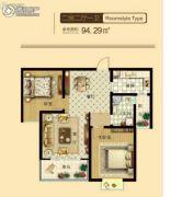 东鑫中央公园2室2厅1卫94平方米户型图