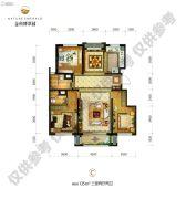 金科博翠园3室2厅2卫135平方米户型图