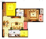 康桥融府1室2厅1卫46平方米户型图