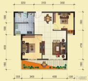 蓝湾国际城2室2厅1卫90平方米户型图