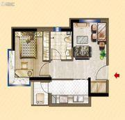 明发锦绣华城1室1厅1卫46平方米户型图