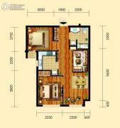 御园2室2厅1卫77平方米户型图