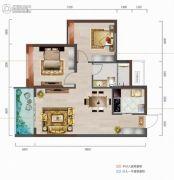 中城悦城2室2厅1卫87平方米户型图