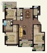 万合名著3室2厅2卫131平方米户型图