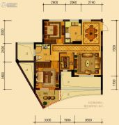 天鸿香榭里3室2厅1卫82平方米户型图