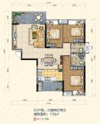 大悦花园3室2厅2卫115平方米户型图