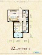 盛秦北苑1室1厅1卫56平方米户型图
