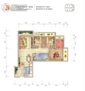 龙湖拉特芳斯3室2厅2卫74平方米户型图
