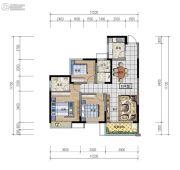 日盛・桂花城3室2厅2卫104平方米户型图