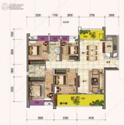 时代倾城4室2厅2卫140平方米户型图