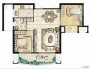 融侨华府2室2厅1卫89平方米户型图