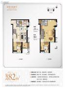 万科尚城3室2厅2卫82平方米户型图