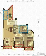 领地・国际公馆2室2厅2卫88平方米户型图