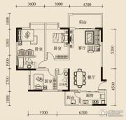 宝嘉花与山2室2厅2卫91平方米户型图