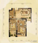 禹洲天境2室2厅1卫68平方米户型图