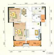 领秀一方2室2厅1卫81平方米户型图