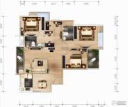 福晟钱隆城3室2厅2卫124平方米户型图