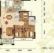 天鹅湾3室2厅2卫127平方米户型图
