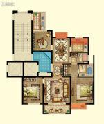 京都御府3室2厅2卫122平方米户型图