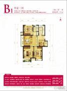 金地朗悦3室2厅1卫97平方米户型图