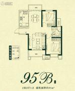 万达・西安one2室2厅1卫95平方米户型图