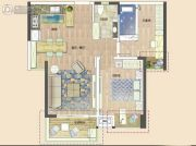 清能清江锦城三期珂园2室2厅1卫76平方米户型图