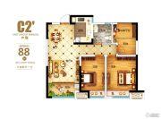 华邦观筑里3室2厅1卫88平方米户型图