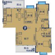 御�Z华庭3室2厅2卫129平方米户型图