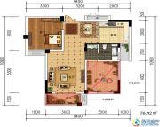 轩华・万华庭2室2厅1卫76平方米户型图