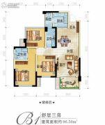 正黄金域峰景3室2厅2卫96平方米户型图
