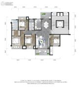 龙湖景粼玖序4室2厅2卫110平方米户型图