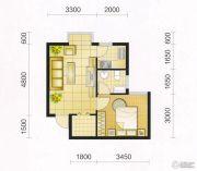 东城・华府1室1厅1卫42平方米户型图